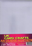 A4 Acetate - 5 sheets per pack, 140 micron - UKCC0001